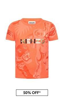 Kenzo Kids Boys Orange Cotton T-Shirt