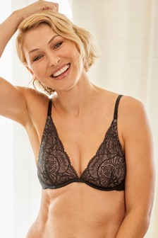 Charcoal Emma Willis Non Padded Underwired Luxurious Lace Plunge Bra