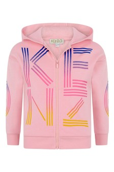 Girls Pink Cotton Logo Zip Up Top