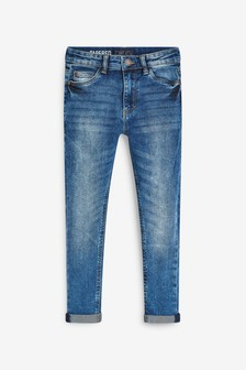 Mid Blue Tapered Fit Five Pocket Jeans (3-16yrs)