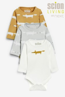 Ochre Scion Living Exclusively to Next Mr Fox Bodysuits Three Pack (0mths-3yrs)