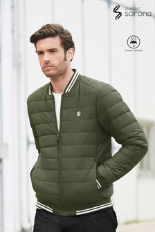 Khaki Shower Resistant Quilted Bomber Jacket With DuPont Sorona® Insulation