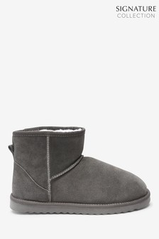 Grey Signature Suede Boot Slippers
