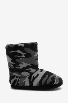 Black/Grey Camo Slipper Boots