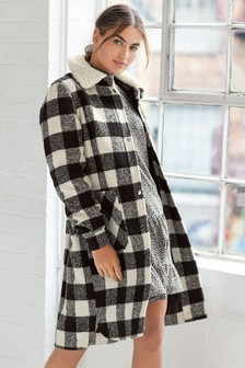 Monochrome Faux Fur Collar Check Shacket
