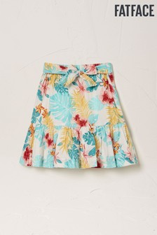 FatFace Natural Palm Floral Tiered Skirt
