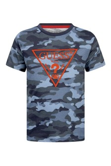 Boys Blue Camouflage Cotton T-Shirt