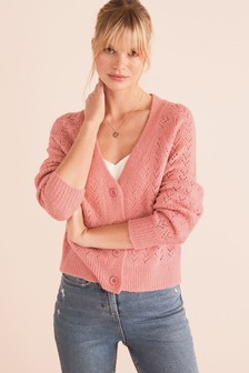 Light Pink Stitch Detail Cardigan