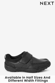 Black Standard Fit (F) Leather Single Strap Shoes