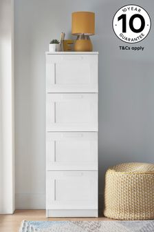 White Flynn 4 Drawer Tall Chest