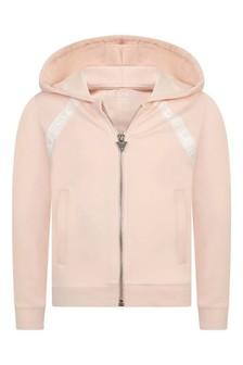 Girls Light Pink Logo Zip-Up Top