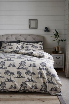 Brushed Cotton Animal Toile Duvet Cover and Pillowcase Set