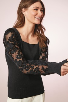 Black Lace Sleeve Jumper