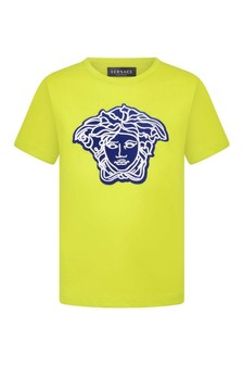 Boys Lime Cotton Logo T-Shirt