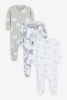 Grey 3 Pack Mono Elephant Sleepsuits (0mths-2yrs)