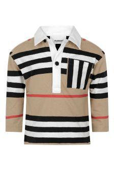 Baby Boys Beige Icon Stripe Cotton Poloshirt