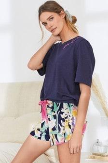 Navy Cotton Blend Pyjama Short Set