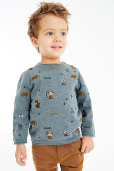 Blue Embroidered Animal Jumper (3mths-7yrs)
