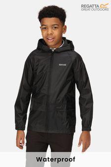 Regatta Black Kids Stormbreak Waterproof Puddle Jacket