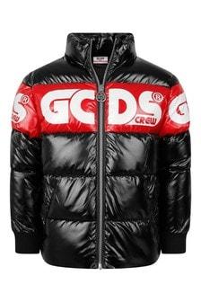 Kids Black Nylon Branded Padded Jacket