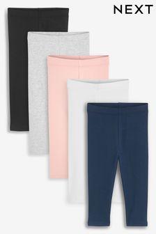 Multi 5 Pack Cotton Leggings (3mths-7yrs)