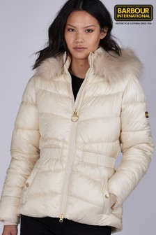 Barbour® International Hooded Faux Fur Trim Checkside Padded Jacket