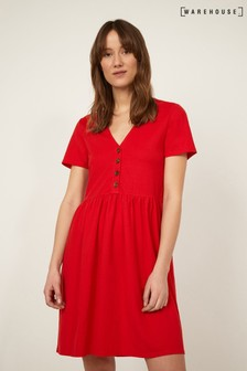 Warehouse Red Pique V-Neck Dress