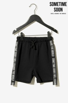Sometime Soon Black Side Tape Shorts