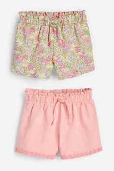 Pink Floral 2 Pack Jersey Shorts (3-16yrs)