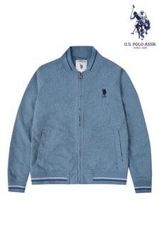 U.S. Polo Assn. Blue Zip Through Jersey Bomber Jacket