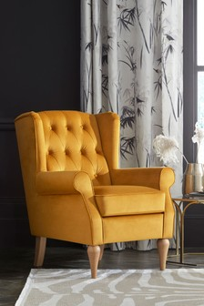 Opulent Velvet Ochre Sherlock II Petite Button Armchair With Light Legs