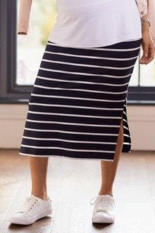 Black/White Stripe Maternity Jersey Maxi Skirt