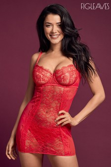 Figleaves Red Pulse Pulse Underwired Lace Slip