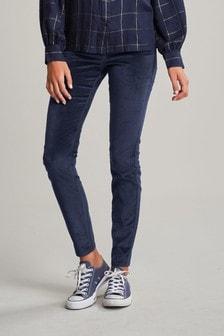 Inky Black Super Soft Velvet Biker Skinny Jeans