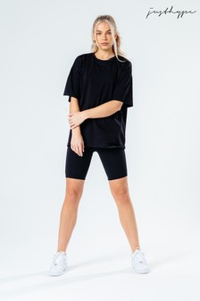 Hype. Black Oversized T-Shirt And Cycle Shorts Set
