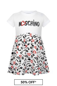 Moschino Baby Girls White Cotton Dress