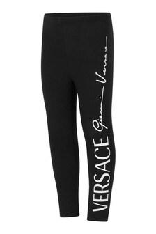 Girls Black Cotton Logo Leggings