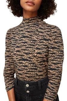 Whistles Tiger Print High Neck Blouse