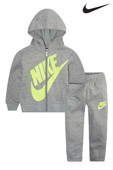 Nike Infant Grey/Green Zip Through Hoody And Jogger Set