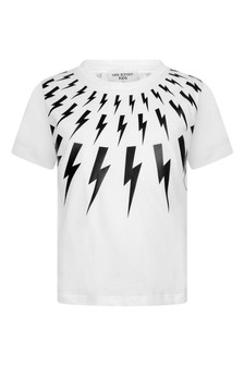 Boys White Cotton Logo Print T-Shirt