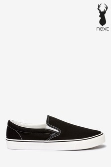 Black Canvas Slip-On Shoes