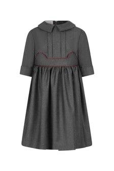 GUCCI Kids Girls Grey Flannel Dress