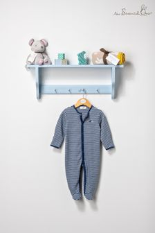 The Essential One Baby Boys Sleepsuit In Grey/Blue Stripe