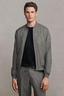 Grey Striped Bomber Jacket