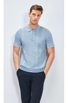 Light Blue Textured Stripe Premium Zip Polo