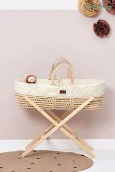 The Little Green Sheep Cream Quilted Moses Basket Linen Rice