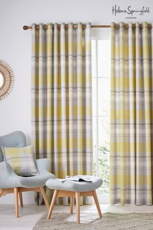 Helena Springfield Nora Check Lined Eyelet Curtains
