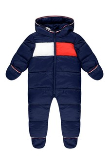 Baby Boys Navy Flag Snowsuit