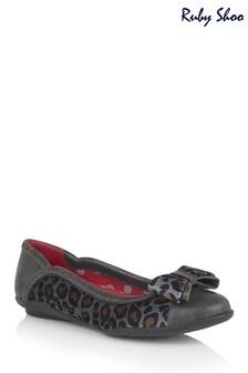 Ruby Shoo Grey Amber Slip-On Padded Ballerina Pump Shoes