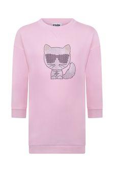 Girls Pink Cotton Choupette Sweater Dress